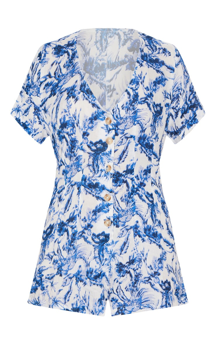Blue Floral Short Sleeve Button Through Playsuit 3