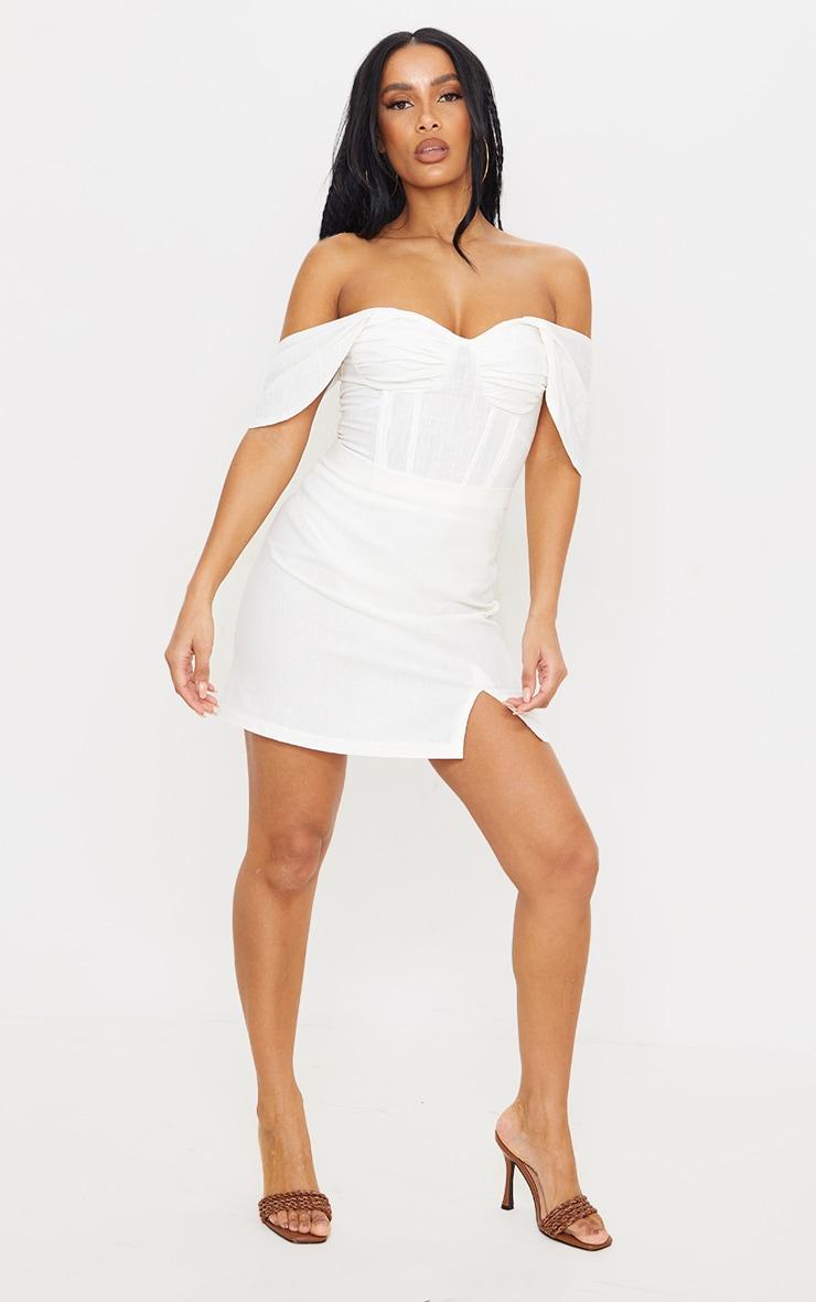 White Linen Look Bardot Draped Bust Corset Bodice Bodysuit 3