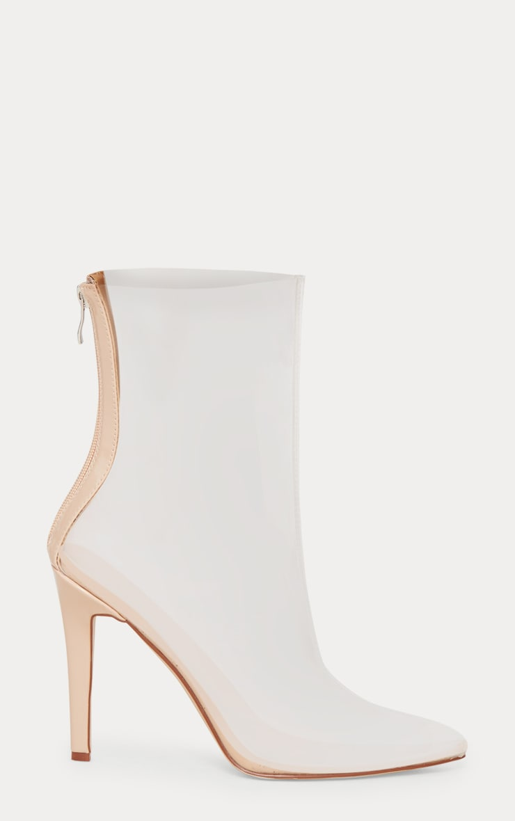 Clear Pointed Zip Back Heeled Boot 3