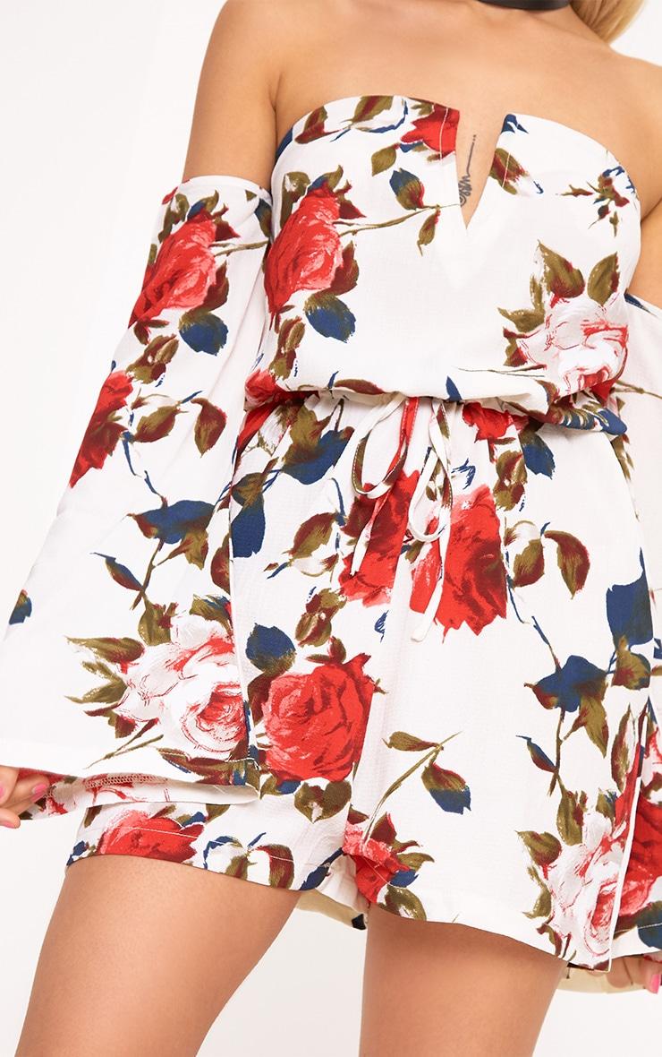 Keeli White Flower Print Bardot Romper 5