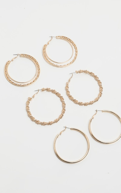 Gold Multi Rope Effect Hoop Earring Three Pack