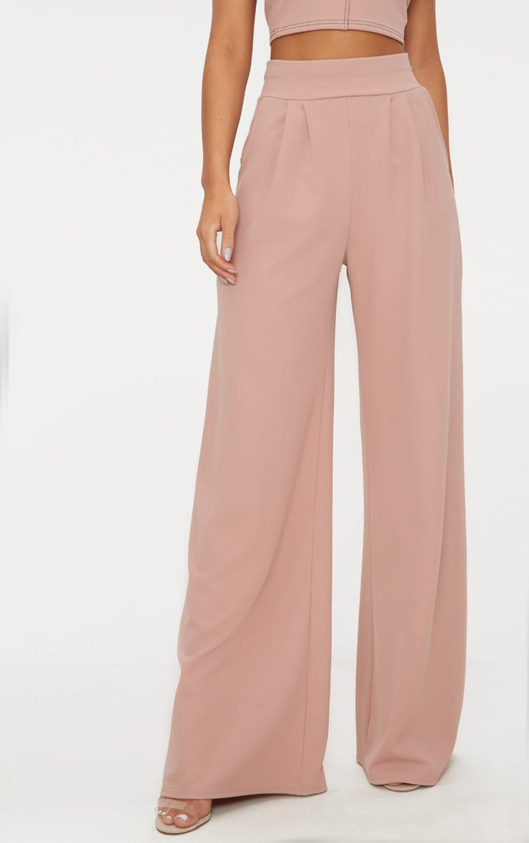 Dusty Pink Pleated Front Wide Leg Pants 2