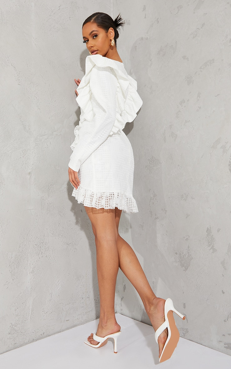White Lace Structured Sleeve Belted Bodycon Dress 2