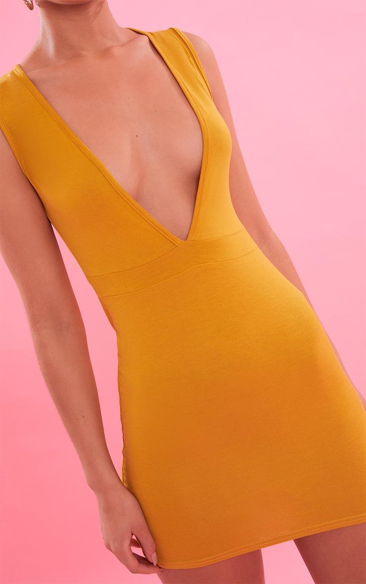 Mustard Extreme Plunge Bodycon Dress 6