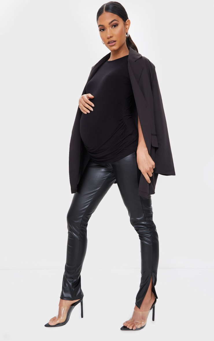 Maternity Black Basic Crew Neck Fitted T Shirt 3