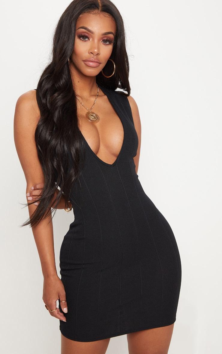 Shape Black Bandage Plunge Bodycon Dress 1