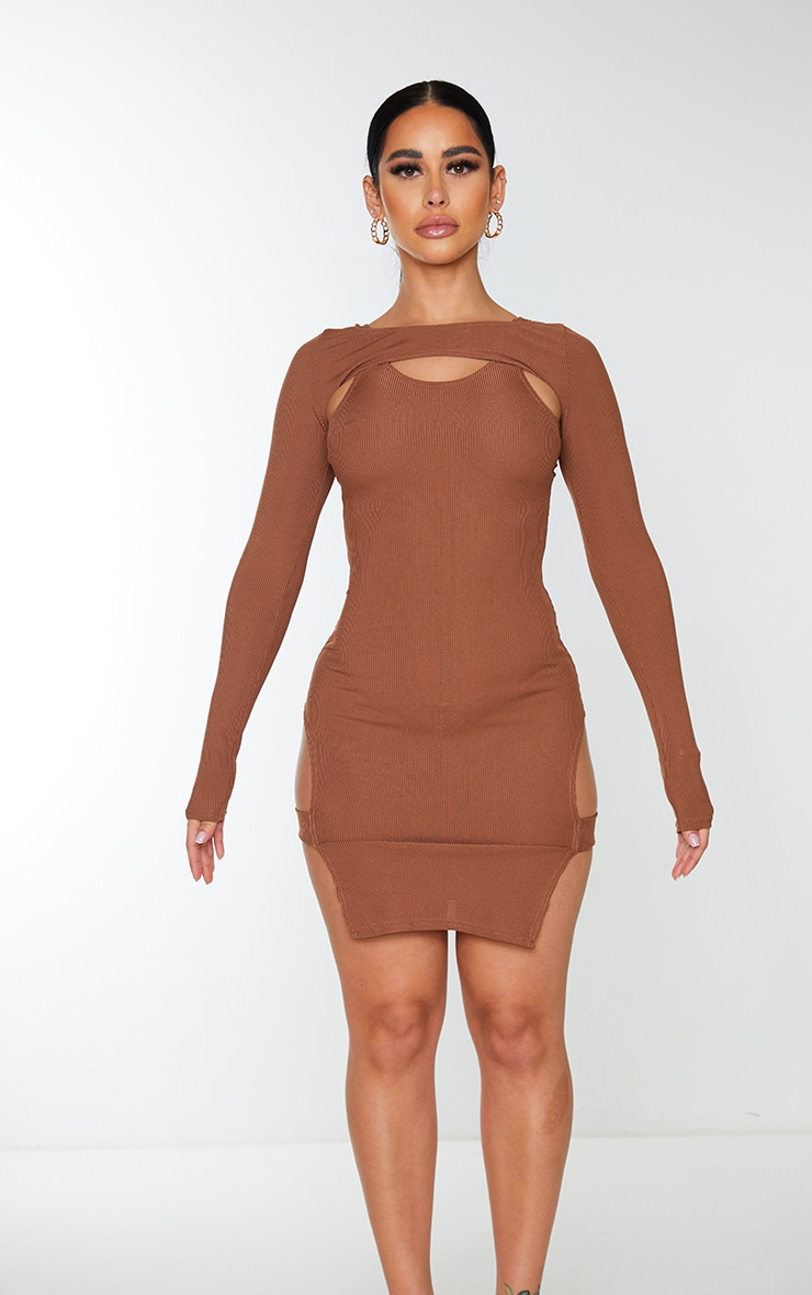 Shape Chocolate Brown Rib Cut Out Long Sleeve Bodycon Dress 5