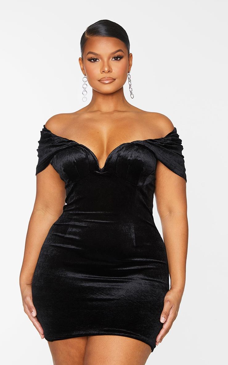 Plus Black Velvet V Bar Bodycon Dress 3