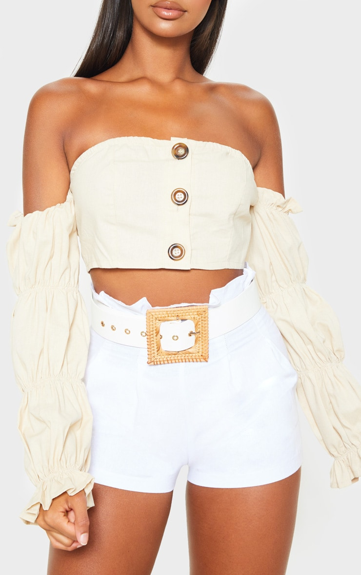 White Woven Square Straw Buckle Belt 2