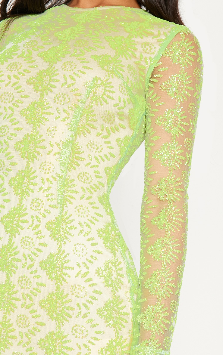 Neon Green Sequin Mesh Long Sleeve Bodycon Dress 5