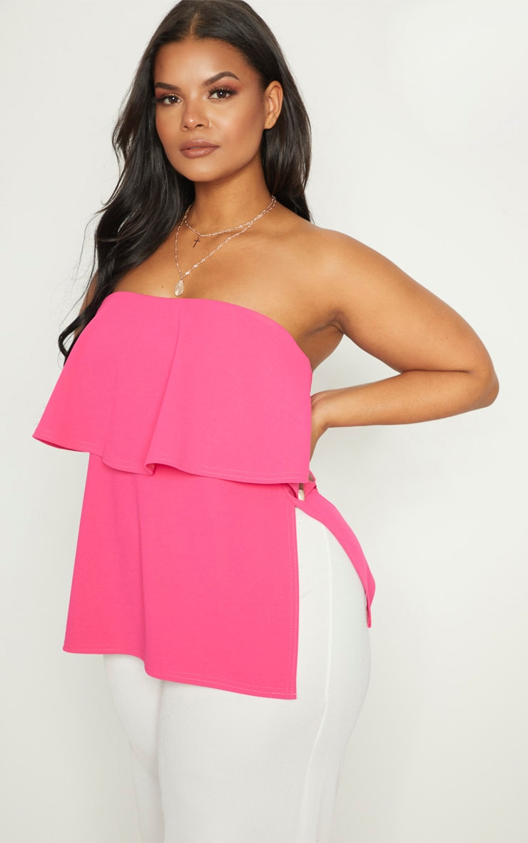 Plus Hot Pink Bandeau Frill Overlay Top 1