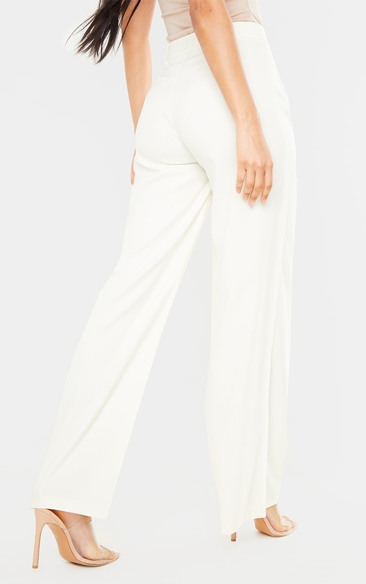 Cream Woven Tailored Wide Leg Trousers 3