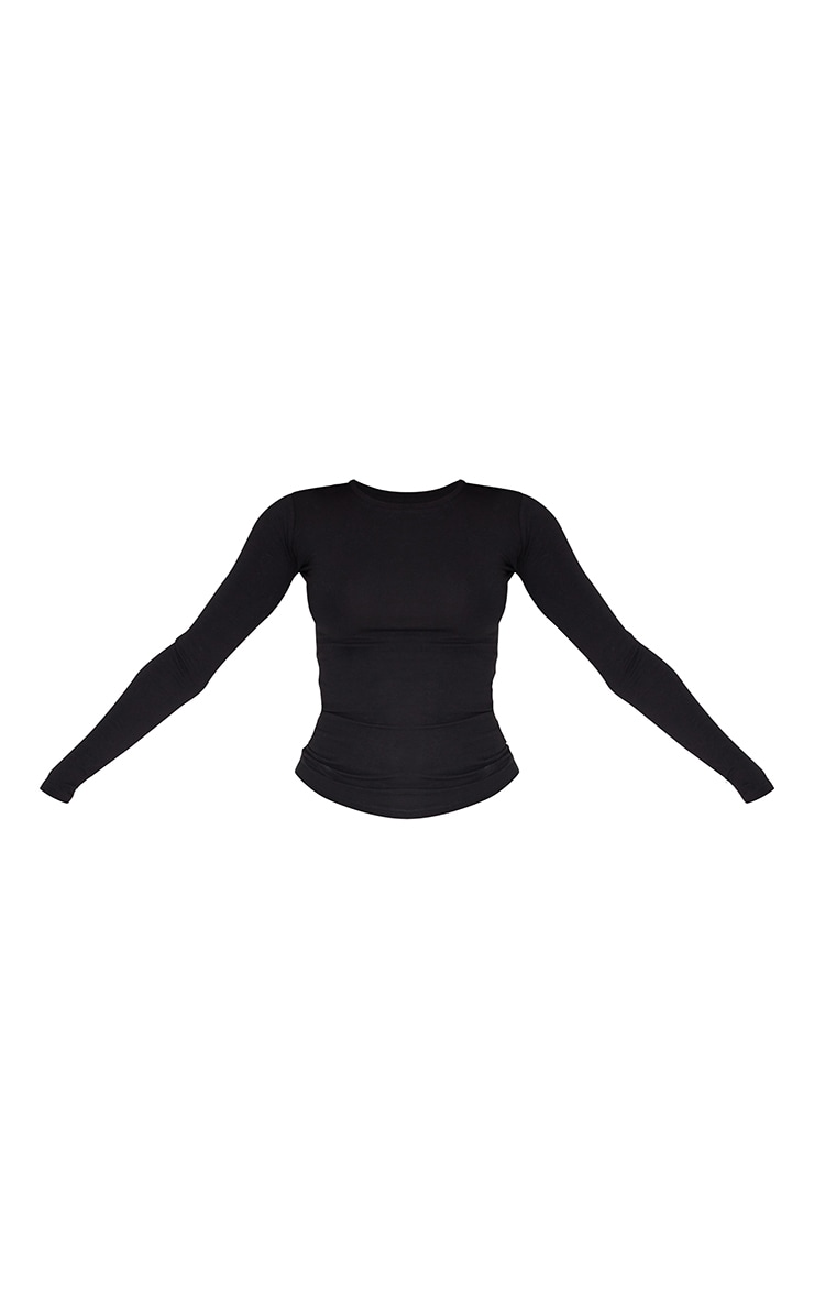 Basic Black Cotton Blend Long Sleeve Fitted T Shirt 5