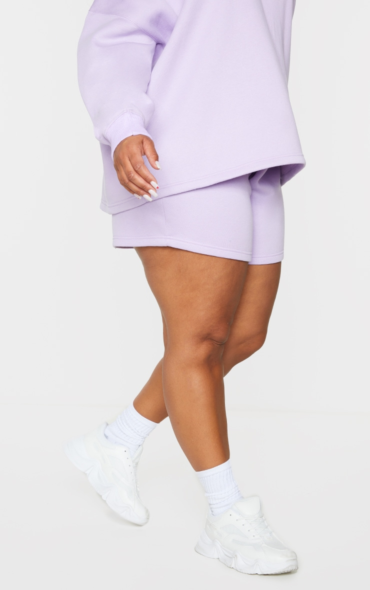 PRETTYLITTLETHING Plus Lilac Embroidered Oversized Sweat Shorts 2