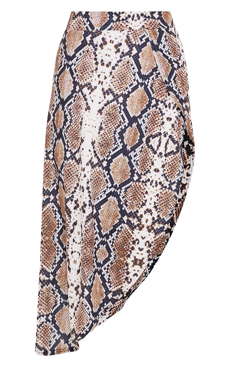 Tan Snake Print Asymmetric Skirt 3