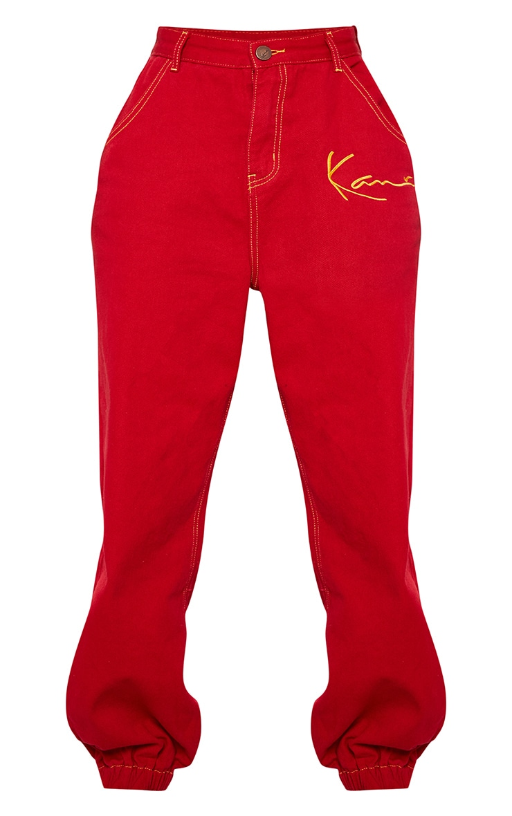KARL KANI Red Embroidered Denim Joggers 4