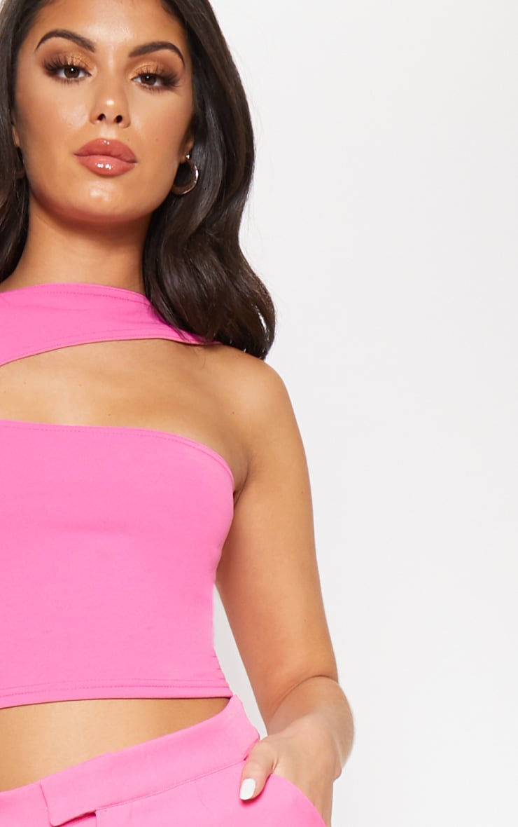 Hot Pink One Shoulder Cut Out Top 5