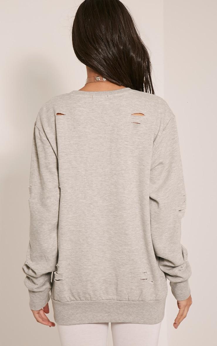 Jadey Grey Ripped Oversized Sweatshirt 2