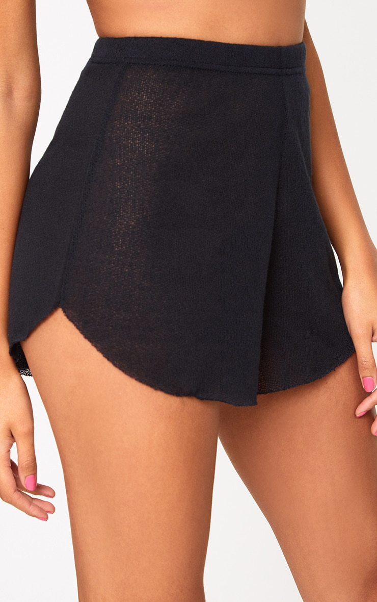 Black Lightweight Knit Shorts 6