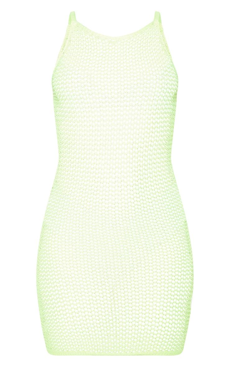Neon Lime Crochet Knitted Dress 6