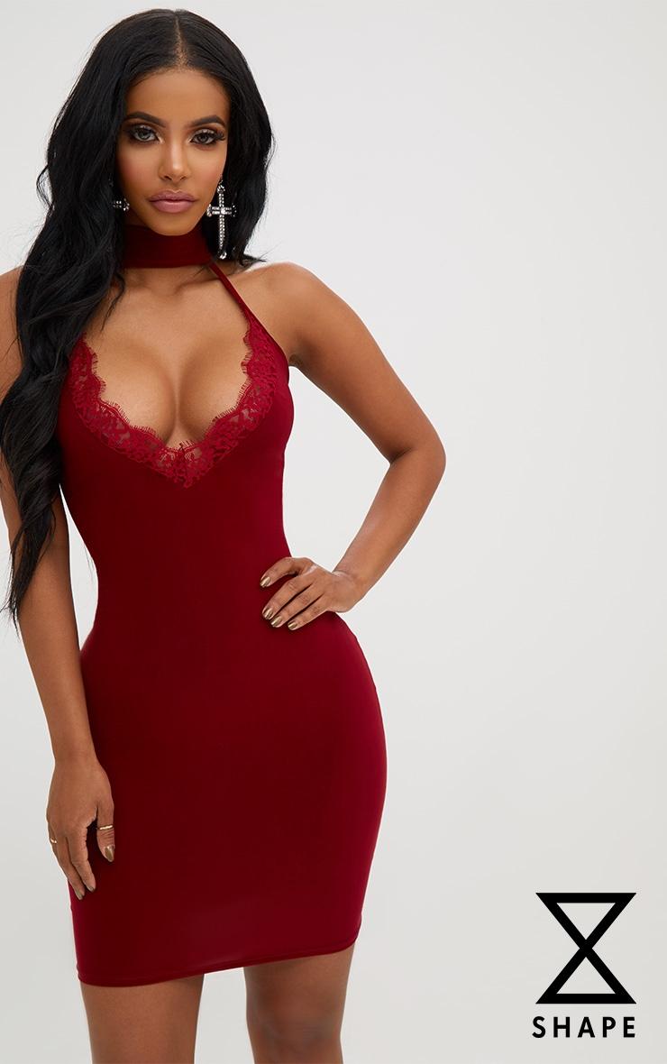 Shape Burgundy Lace Trim Plunge Choker Dress 1