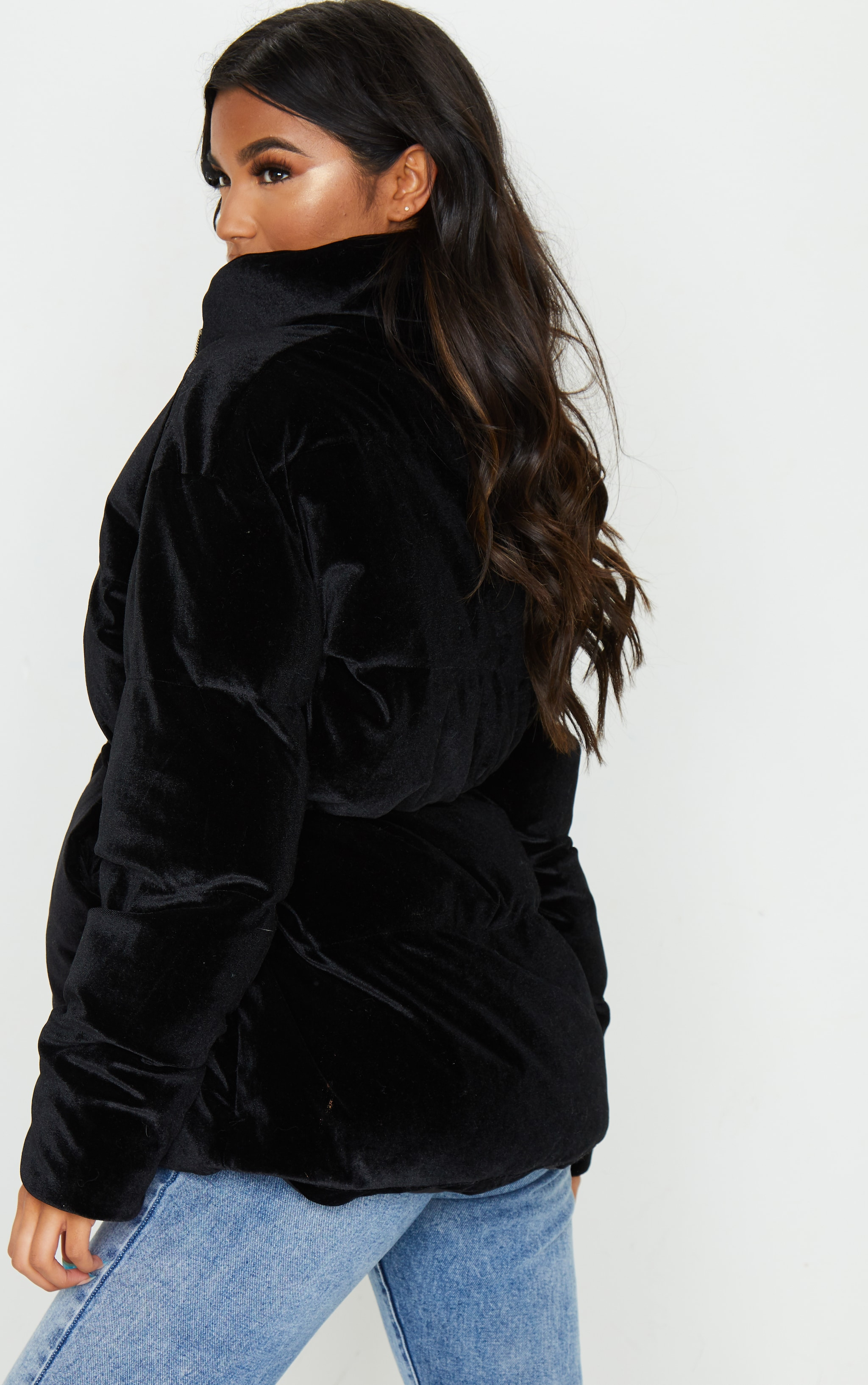 Black Padded Velvet Puffer 2