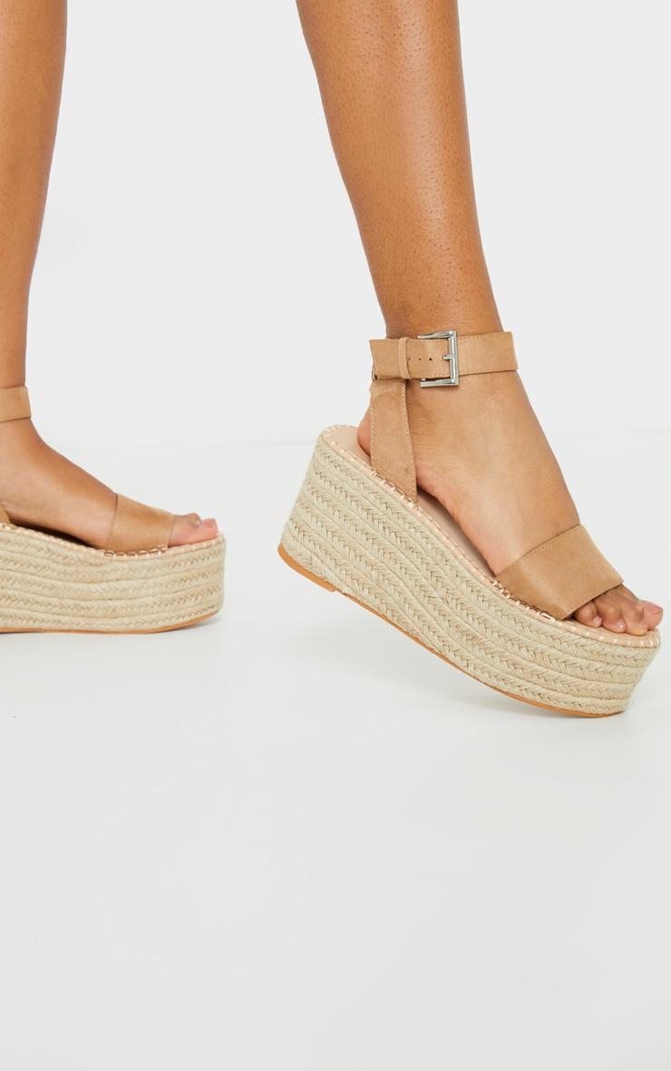 Tan Buckle Ankle Strap Flatform Espadrille Sandal 2