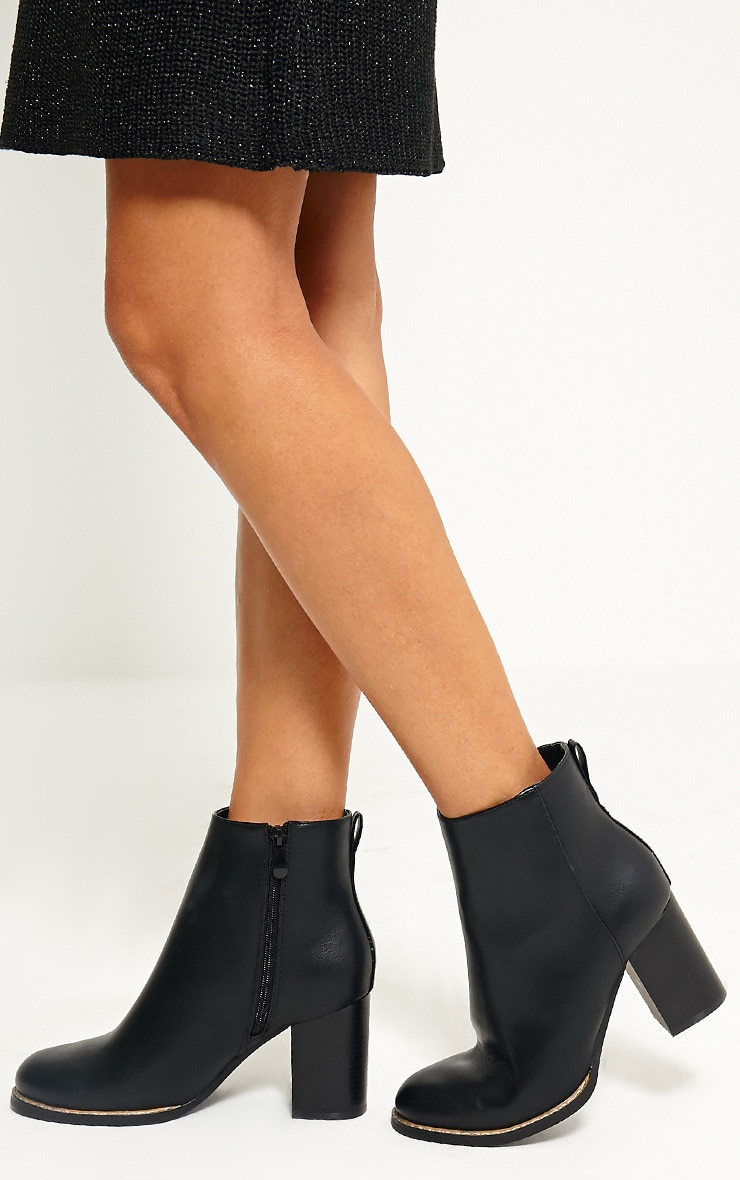 Elana Black Faux Leather Heeled Ankle Boots 1