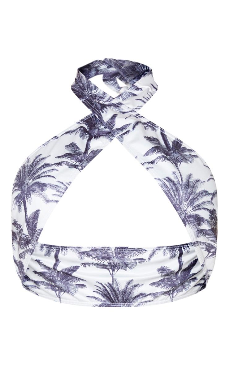 Monochrome Tropical Cross Over Halterneck Bikini Top 6