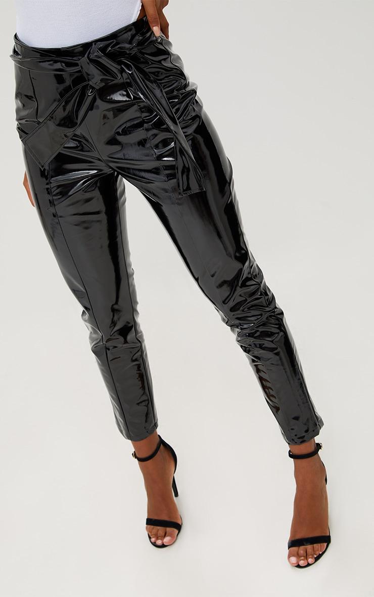 Black Vinyl Tie Waist Trousers 4