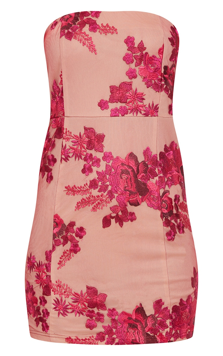Fuchsia Bandeau Embroidered Lace Bodycon Dress 3