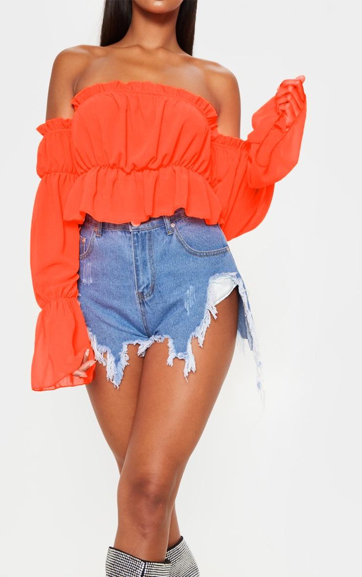 Neon Orange Woven Ruffle Bardot Flared Sleeve Blouse 5