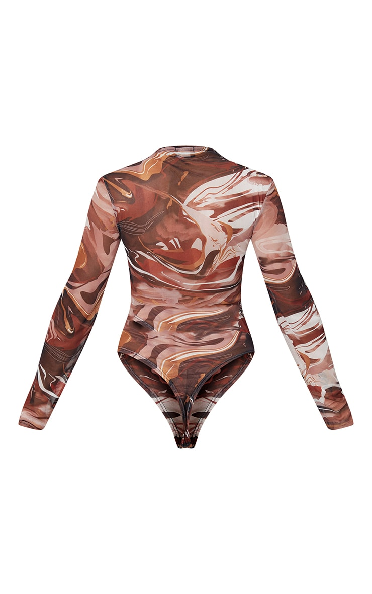 Brown Abstract Swirl Printed Mesh Ruched Front Long Sleeve Bodysuit 6