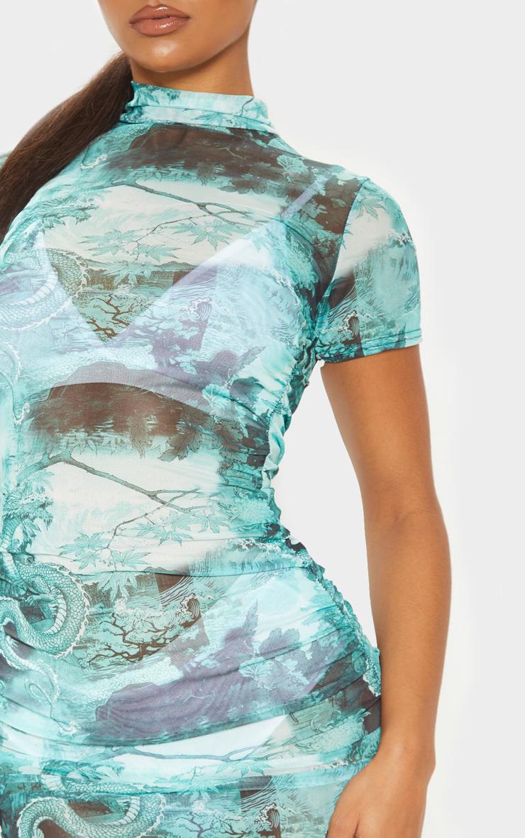 Green Oriental Print Ruched Mesh Bodycon Dress 5