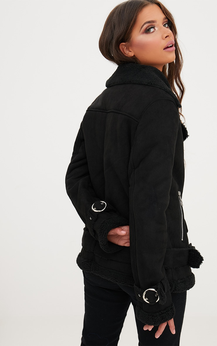 Black Ring Pull Faux Suede Aviator Coat 2