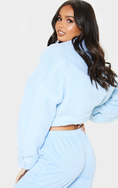 Baby Blue Cropped Borg Trucker
