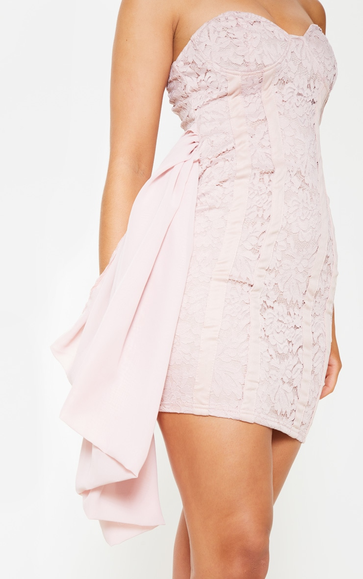 Nude Lace Bandeau Bodycon Dress 5