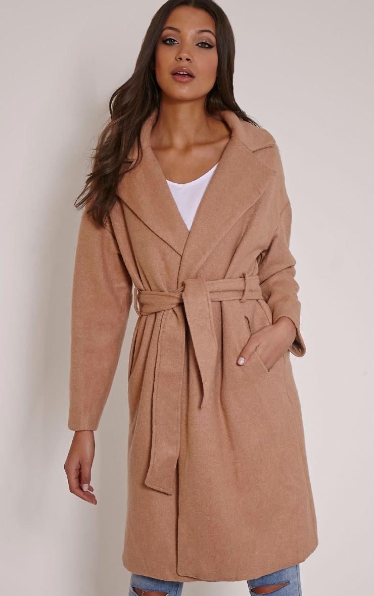 Evangeline Camel Belted Wool Trench Coat 1