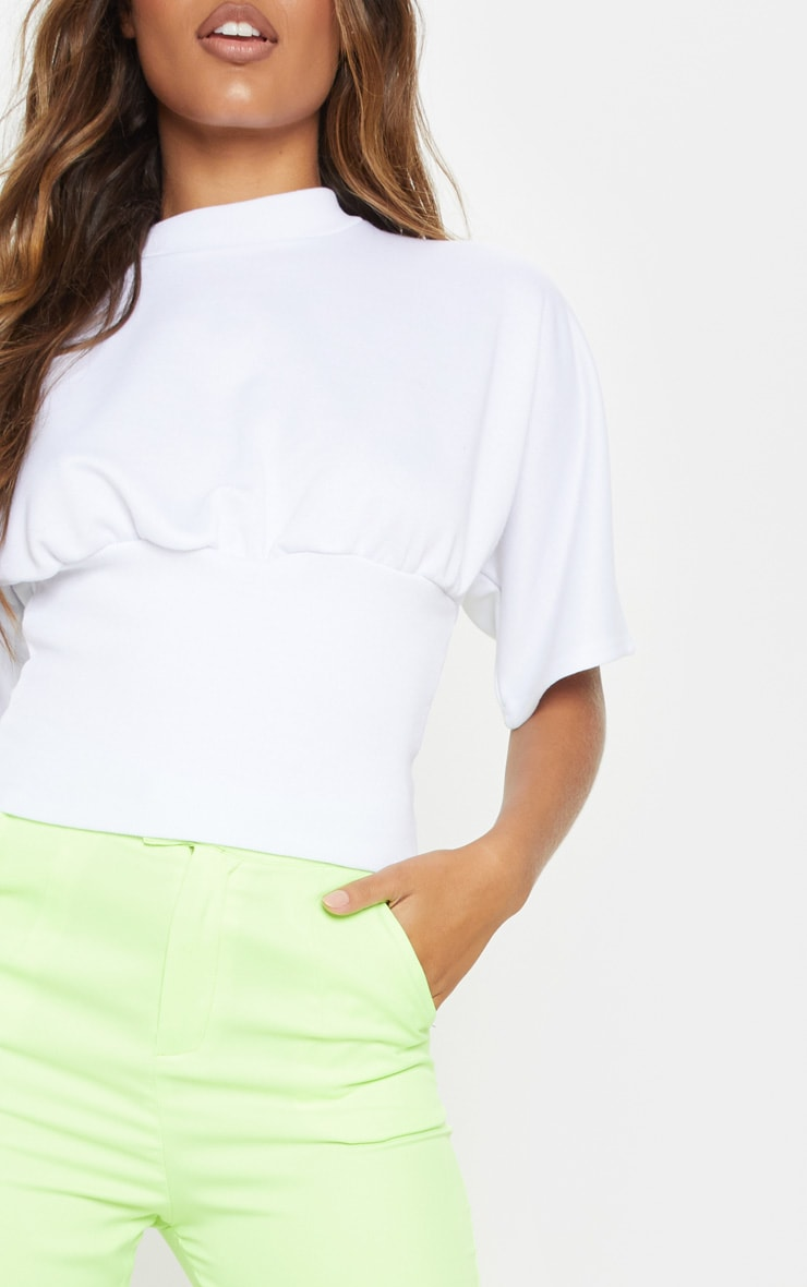 White Rib Waist Short Sleeve Sweat Crop Top 5