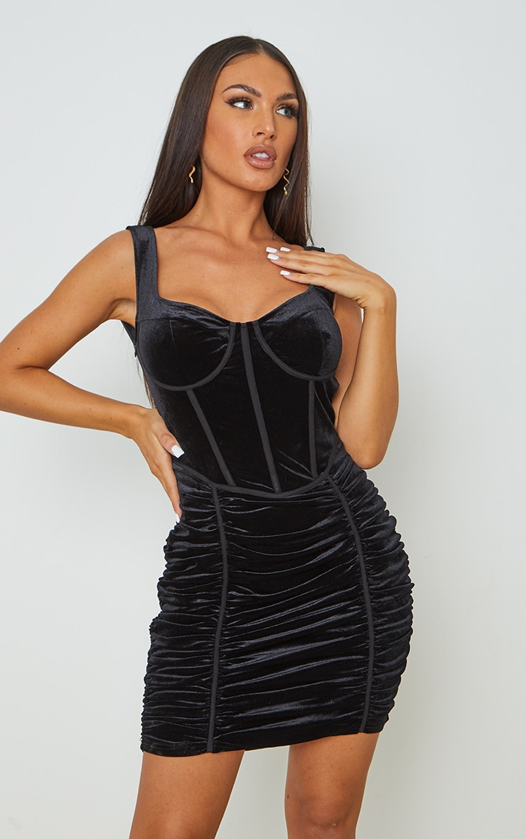 Black Velvet Corset Ruched Binding Detail Bodycon Dress 1