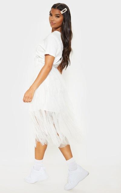 White Tulle Detail T Shirt Dress