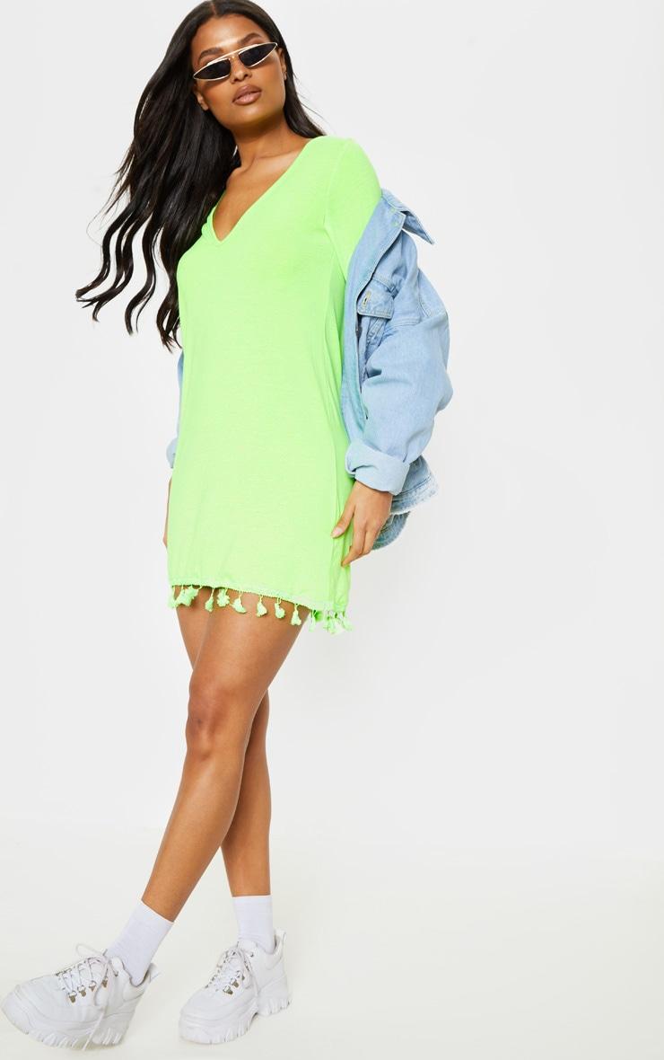 Neon Lime Tassel Trim T Shirt Dress 1