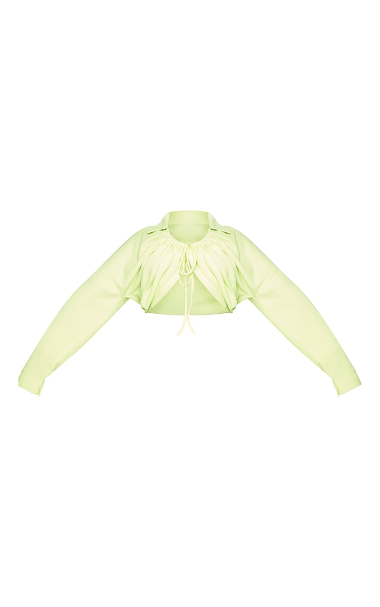 Plus Light Lime Ruched Tie Waffle Textured Cardigan 5