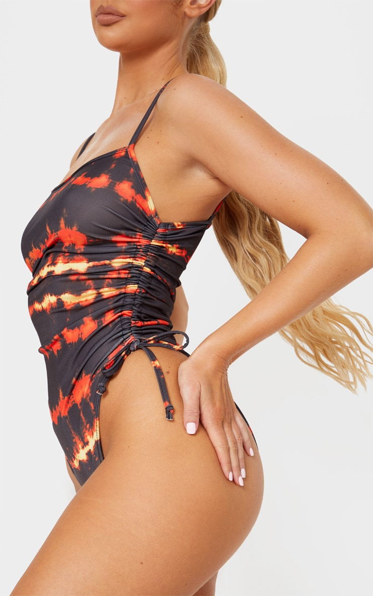 Red Tie Dye Ruched Side Swimsuit 6
