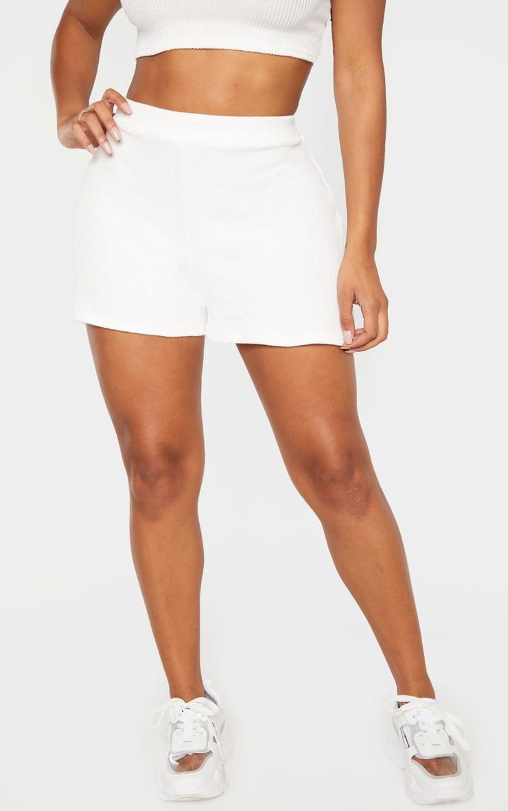 Shape Cream Soft Rib High Waisted Shorts 2
