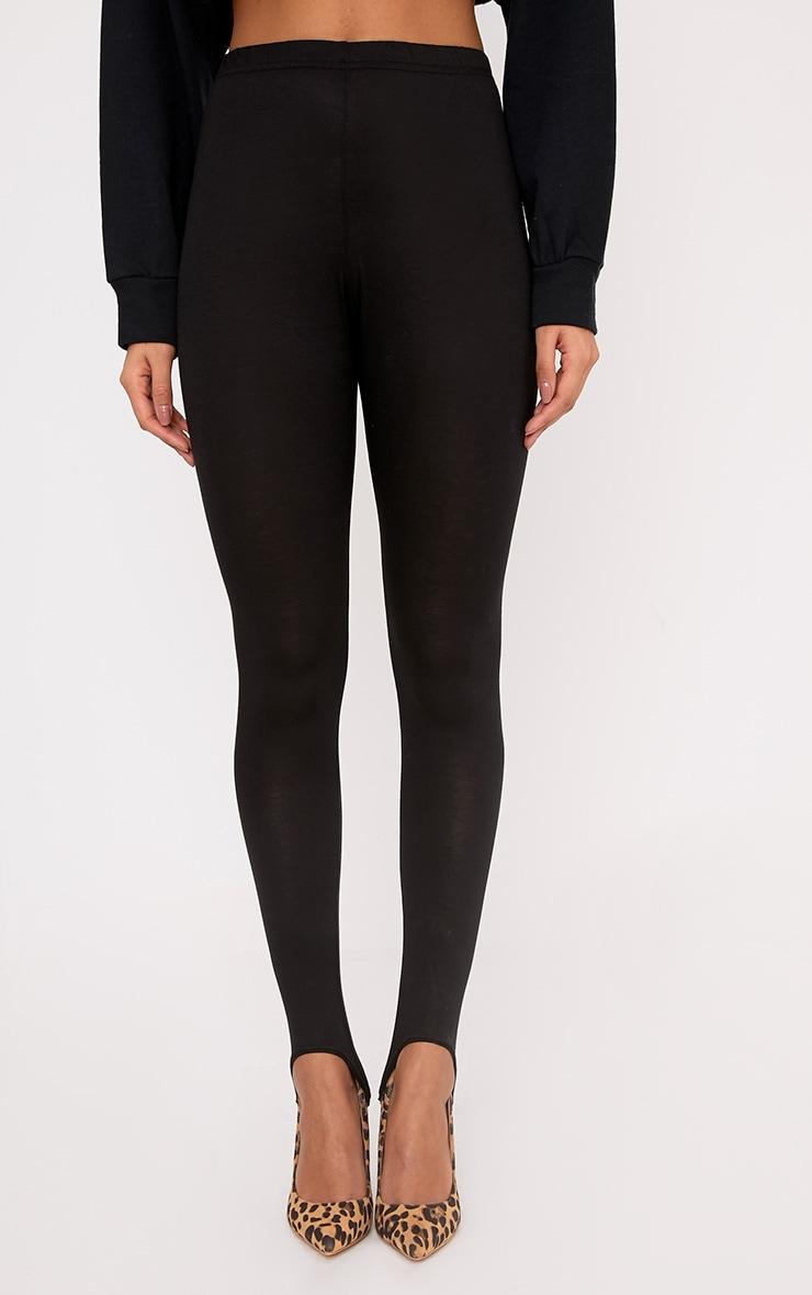 Basic Black Jersey Stirrup Leggings 2