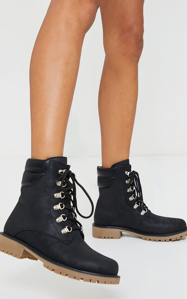 Black Suede Contrast PU Back Eyelet Lace Up Boots 2