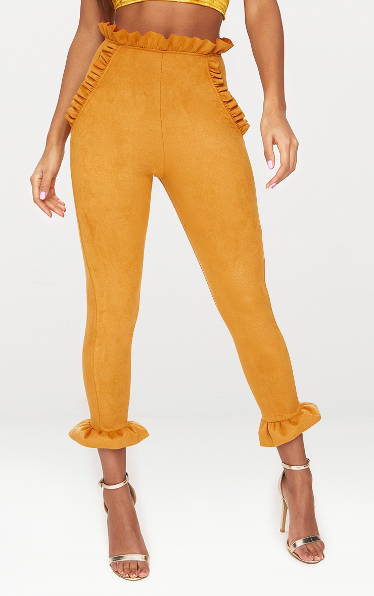 Mustard Faux Suede Frill Trim Trousers 2