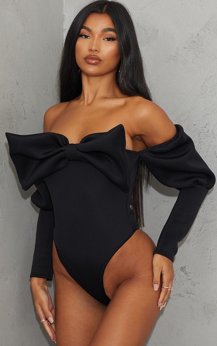 Black Scuba Bow Detail Puff Sleeve Bardot Bodysuit 2