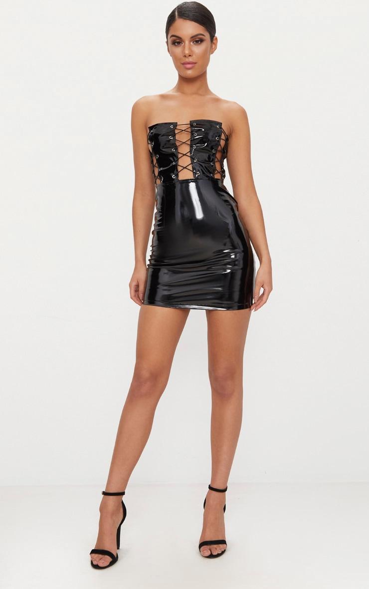 Black Bandeau Vinyl Lace Up Front Bodycon Dress 4